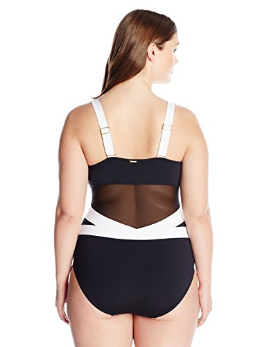 Anne Cole Women's Plus Size Mesh Over The Shoulder One Piece Swimsuit, Black Wh, 22W