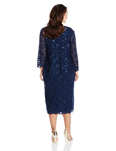 Alex Evenings Women's Plus-Size T-Length All Over Lace Jacket Dress, Navy, 16W