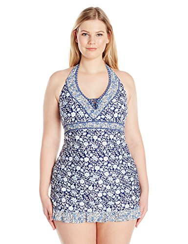 Jessica Simpson Women's Plus Size Patched up Ditsy Floral Cross Back Halter Tankini, Peri Multi, 1X