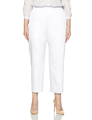 Alfred Dunner Women's Plus Size Short Pant Clean Front Back Elastic, White, 16W