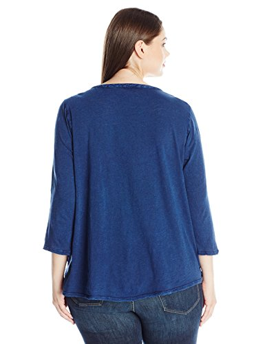 Lucky Brand Women's Plus Size Embroidered Tee, American Navy, 2X
