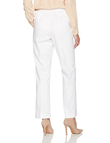Alfred Dunner Women's Proportioned Medium Classic Fit Pant, White, 14