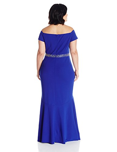 Alex Evenings Women's Plus Size Long Off The Shoulder Dress With Beaded Waist, Bright Royal, 14W