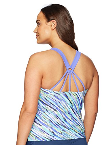 ZeroXposur Zero Xposur Women's Plus Size Monsoon Sunburst Tankini Top, Marina, 20W