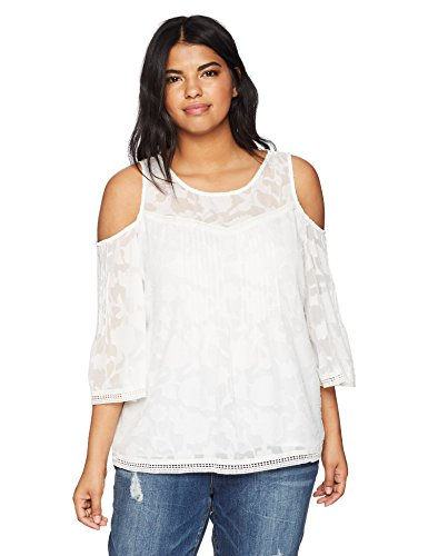 Lucky Brand Women's Plus Size Cold Shoulder Top, Lucky White, 2X