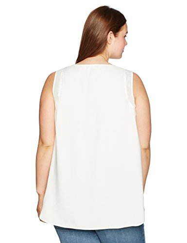 Jones New York Women's Plus Size Shirttail Slit Combo Tank, White, 1X