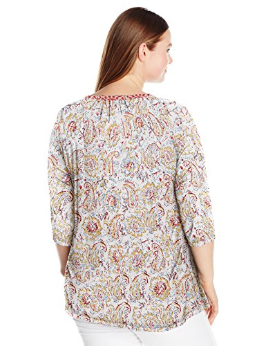 Lucky Brand Women's Plus Size Embriodered Bib Top, Natural Multi, 1X