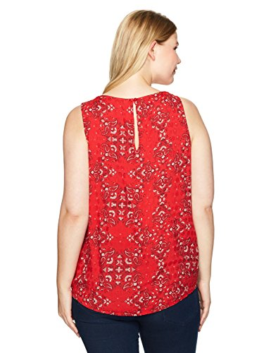 Lucky Brand Women's Plus Size Paisley Tank Top, Red/Multi, 2X
