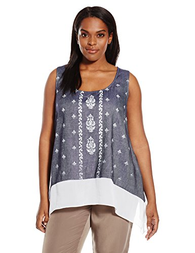 Karen Kane Women's Plus Size Sheer Hem Tank, Chambray, 1X