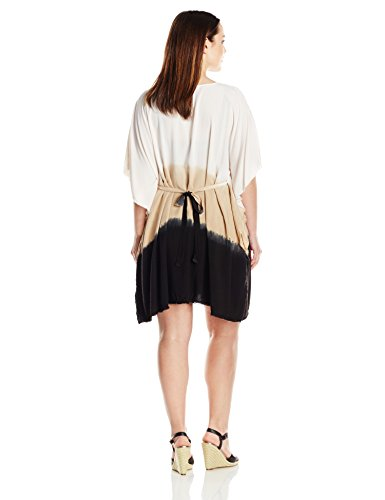 BECCA ETC Women's Plus-Size Dusk To Dawn Dip Dyed Tunic Cover Up with Fringe Hem and Adjustable Tie-Back, Black, 2X