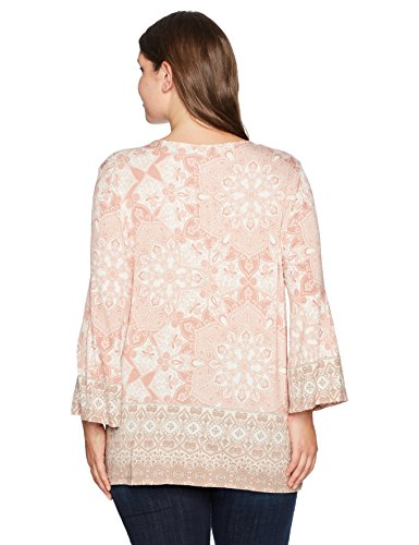 Ruby Rd. Women's Plus Size Split-Neck Intricate Medallion Border Printed Knit Top, Soft Blush Multi, 3X