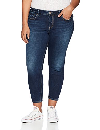 Silver Jeans Co. Women's Plus Size Suki Curvy Fit Mid Rise Skinny Crop Jeans, Dark Denimotion, 22