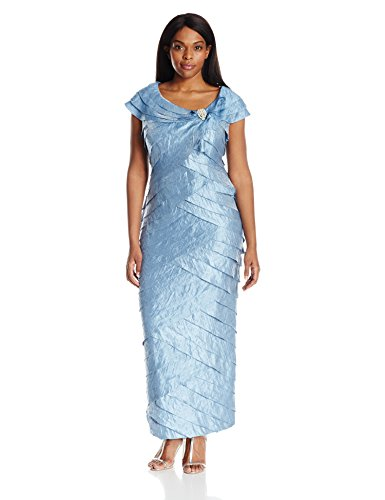 London Times Women's Plus Size Shimmer Shutter Gown with Broach Detail, French Flue, 14W