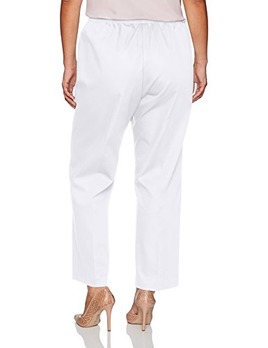 Alfred Dunner Women's Plus Size Med Pant Clean Front Back Elastic Fit, White, 16W