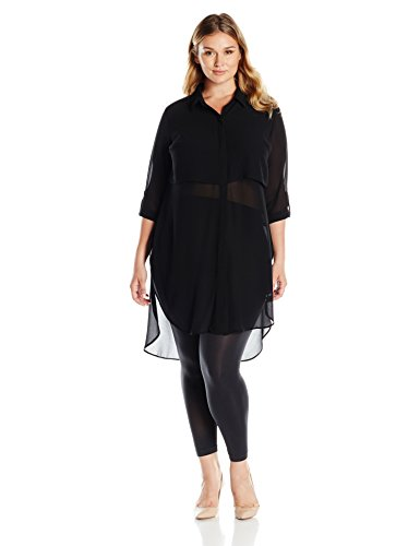 NY Collection Women's Plus Size Long Sleeve Roll up to 3/4 Sleeve Point Collar Button Down Popover Dress, Black, 1X