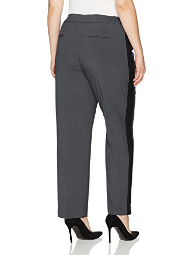 Nine West Women's Plus Size Bi Stretch Pant With Contrast Side Panel (2), Shadow/Black, 20W
