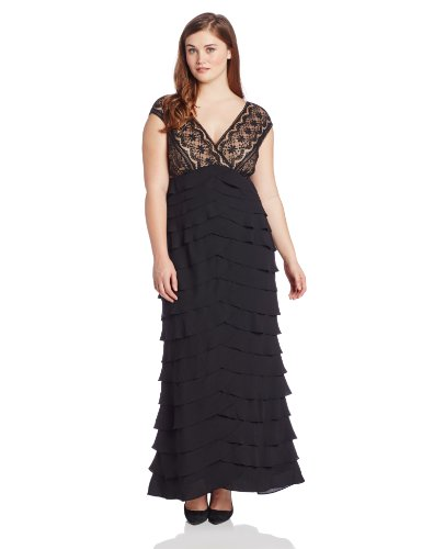 Adrianna Papell Women's Plus-Size Lace Shutter Gown, Black, 24W