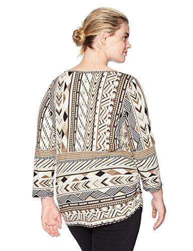 Ruby Rd. Women's Plus Size Printed 3/4 Sleeve Knit Top With Double Side Ruching, Chnmult, 1X