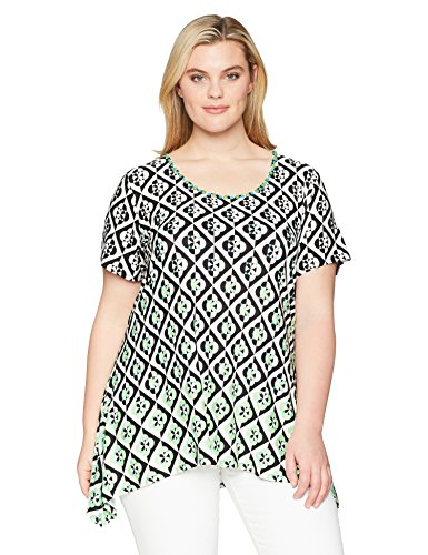 Ruby Rd. Women's Plus Size Printed Short Sleeve Knit Top With Sharkbite Hem, Embellished Parrot Green/Multi, 2X