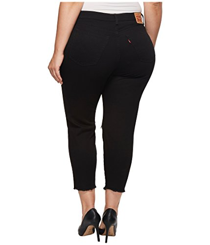 Levi's Women's Plus Size Wedgie Jeans, Soft Ultra Black With Damage, 44 (US 24)